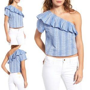 Splendid Cotton One-Shoulder Chambray Crop Top